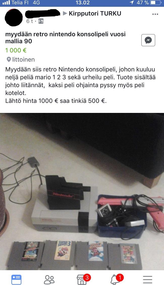 Myydään Retro Nintendo Konsolipeli