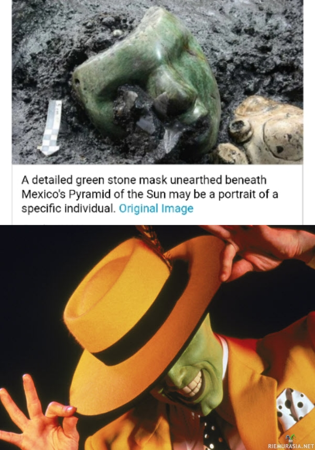 Green mask - https://www.google.fi/amp/s/amp.livescience.com/17474-ancient-offering-discovered-pyramid.html