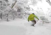 Lumilautailua lumisessa metsässä