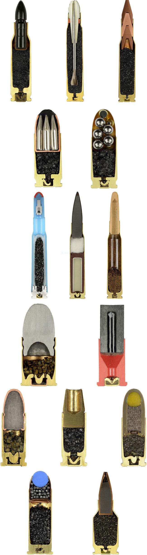 Erilaisia ammuksia